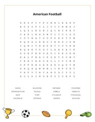 American Football Word Search Puzzle