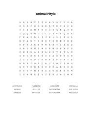 Animal Phyla Word Search Puzzle