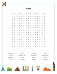 Idaho Word Search Puzzle