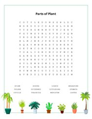 Parts of Plant Word Search Puzzle