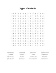 Types of Variable Word Search Puzzle