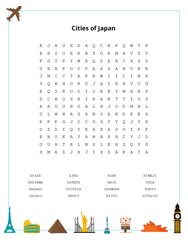 Cities of Japan Word Search Puzzle