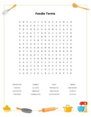Foodie Terms Word Search Puzzle