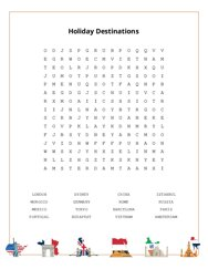 Holiday Destinations Word Search Puzzle