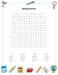 Spelling Words Word Search Puzzle