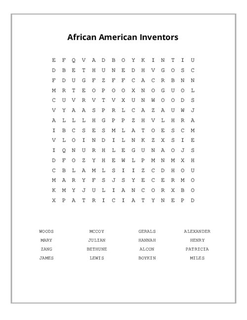 African American Inventors Word Search Puzzle