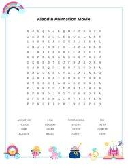 Aladdin Animation Movie Word Search Puzzle
