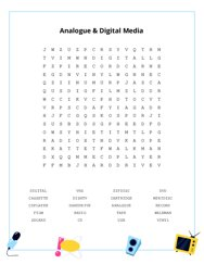 Analogue & Digital Media Word Search Puzzle