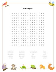 Antelopes Word Search Puzzle