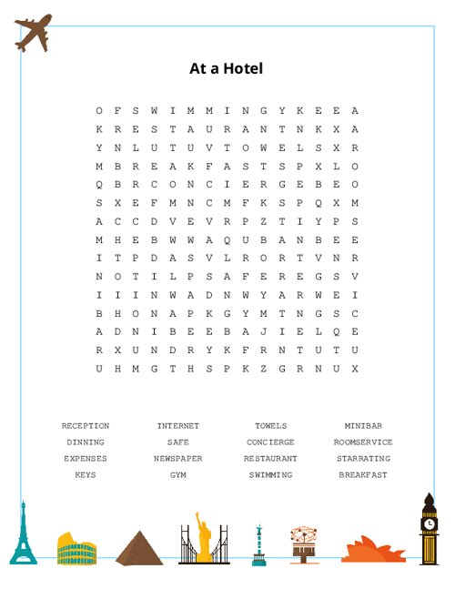 At a Hotel Word Search Puzzle