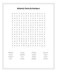Atlantic Ports & Harbors Word Search Puzzle