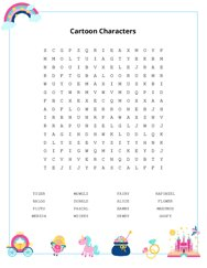 Cartoon Characters Word Search Puzzle