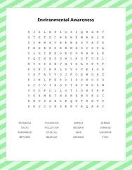 Environmental Awareness Word Search Puzzle