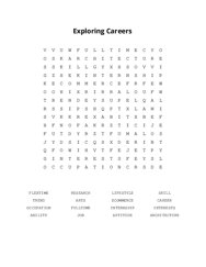 Exploring Careers Word Search Puzzle