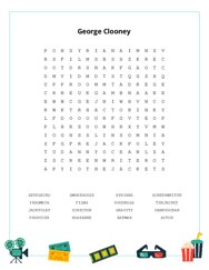 George Clooney Word Search Puzzle