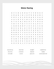 Motor Racing Word Search Puzzle