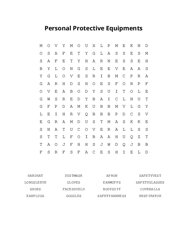 Personal Protective Equipments Word Search Puzzle
