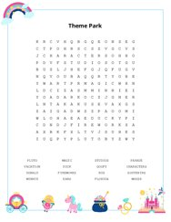 Theme Park Word Search Puzzle