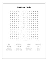 Transition Words Word Search Puzzle
