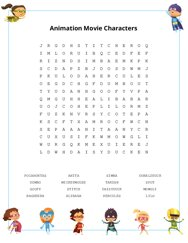 Animation Movie Characters Word Search Puzzle
