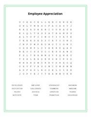 Employee Appreciation Word Search Puzzle