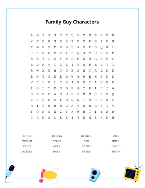 Family Guy Characters Word Search Puzzle