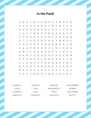 In the Pond Word Search Puzzle