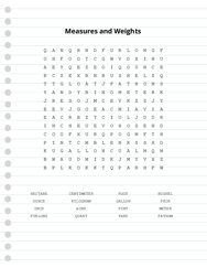 Measures and Weights Word Search Puzzle