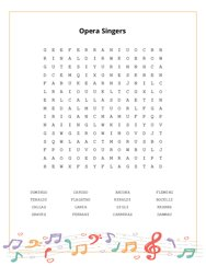 Opera Singers Word Search Puzzle