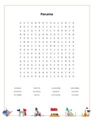 Panama Word Search Puzzle