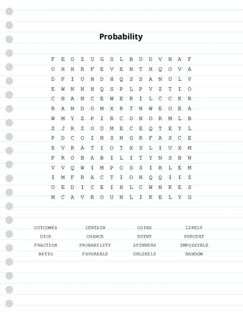 Probability Word Search Puzzle