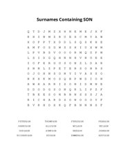 Surnames Containing SON Word Search Puzzle