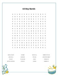 US Boy Bands Word Search Puzzle
