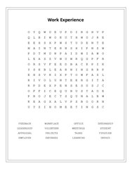 Work Experience Word Search Puzzle