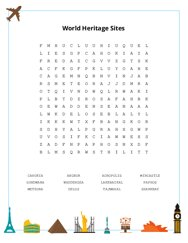 World Heritage Sites Word Search Puzzle