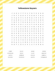 Yellowstone Geysers Word Search Puzzle
