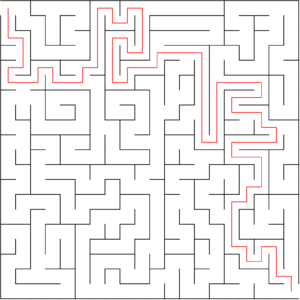 20x20 orthogonal maze puzzle with solution