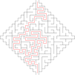 25x25 diamond shaped maze with solution
